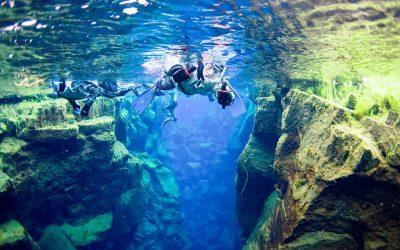 Snorkel Between Tectonic Plates in Iceland